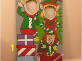 Winter Wonderland Wall Mural Snowman & Penguin Wooden Face In Hole Op Stand In
