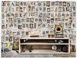 Wood Effect Wall Murals 3d Wallpaper Mural Old Newspaper torn Paper English Alphabet