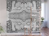 Wood Panel Wall Mural Black and White Zen Doodle Wall Mural