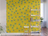 Wood Panel Wall Mural Happiness In Shapes 3 Yellow Light Blue Wall Mural