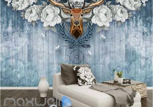 Wooden Murals Wall Hanging Vintage Deer Head with White Roses Blue Wooden Wall Art