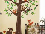 Woodland Animal Wall Mural Woodland Animals forest Animals Wall Decal Huge Tree Nursery Decal