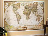 World Executive Wall Map Mural Nib National Geographic Sunset Desert Highway 4 X 6 Ft Wall