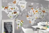 World Map Removable Wall Mural 3d Nursery Kids Room Animal World Map Removable Wallpaper