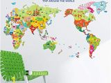 World Map Removable Wall Mural Amazon Moonlight Studio Ml Cartoon Map World Wall