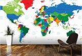 World Map Removable Wall Mural Bright World Map Wall Mural Room Setting