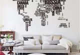 World Map Wall Mural Decal Big Letters World Map Wall Sticker Decals Removable World Map Wall Sticker Murals Map Of World Wall Decals Vinyl Art Home Decor