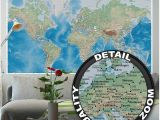 World Map Wall Mural Decal Mural – World Map – Wall Picture Decoration Miller Projection In Plastically Relief Design Earth atlas Globe Wallposter Poster Decor 82 7 X 55