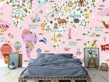 World Map Wall Mural for Nursery Girl Kids Wallpaper Kids Pink World Map Wall Mural Nursery Map Wall Decor Girls Boys Bedroom Wall Art Kindergarten Wall Paint Art Baby Room