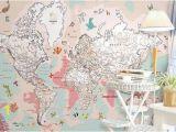World Map Wall Mural for Nursery Kids Map Wallpaper Pink Political Map Wall Mural Cartoon