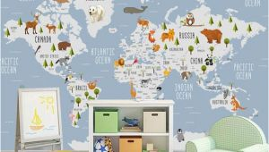 World Map Wall Mural for Nursery Kids Wallpaper World Map Wall Mural Cartoon Animal Wall