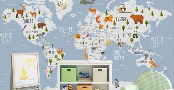 World Map Wall Mural for Nursery Kids Wallpaper World Map Wall Mural Cartoon Animal Wall
