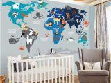 World Map Wall Mural for Nursery World Map Nursery Wall Decal Nursery Decor Wall Decal Nursery Map Decal Child Wall Decal Map Wall Decal World Decal World Map