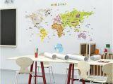 World Map Wall Mural for Nursery World Map Wall Decal Sticker World Map Sticker
