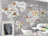 World Map Wall Mural Wallpaper 3d Nursery Kids Room Animal World Map Removable Wallpaper