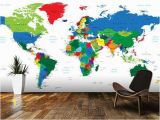 World Mural Wall Map Bright World Map Wall Mural Room Setting