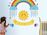 You are My Sunshine Wall Mural Stickerskart Red and Yellow Nursery School You are My