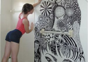 Zentangle Wall Mural Zentangle Art On Her Bathroom Walls Mi Casita Un Dia